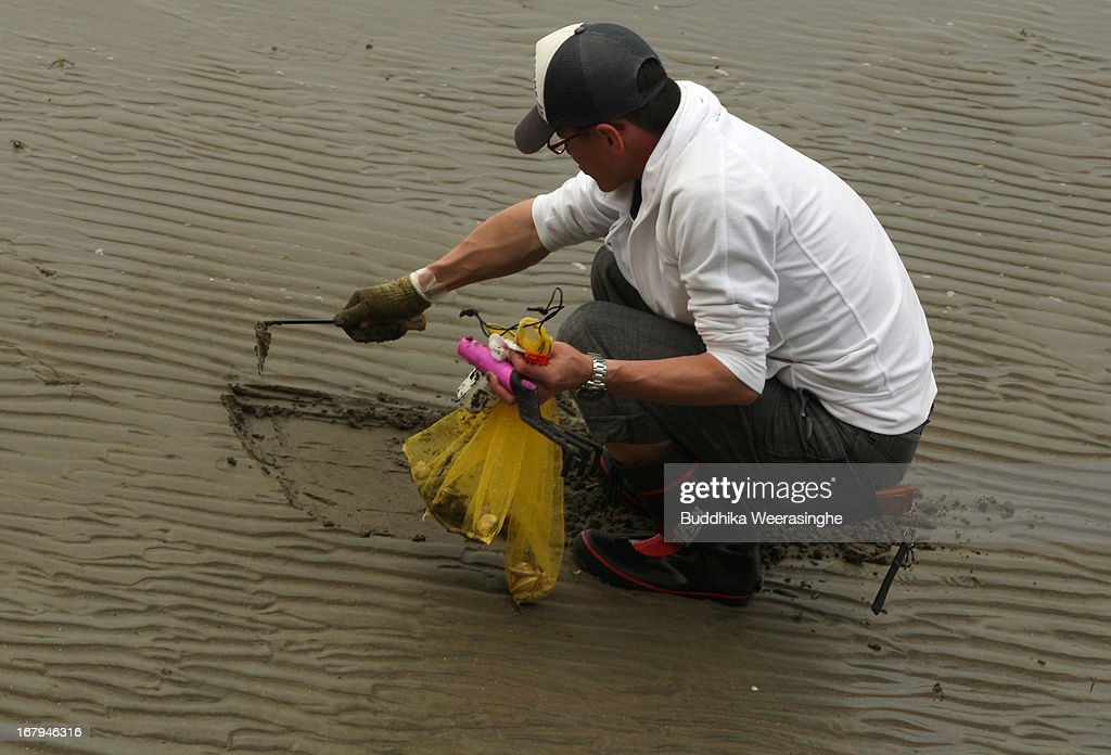 A Japanese man digs the soil as he collects shells at Shinmaiko beach on May 3, 2013 in Himeji, Japan. Shell collecting are one of most famous pleasure events around the country during the longest spring holiday known as 'Golden Week'. Japan holds the Golden Week holidays from April 28 to May 6, during that period millions of Japanese people travel to tourist attractions.
