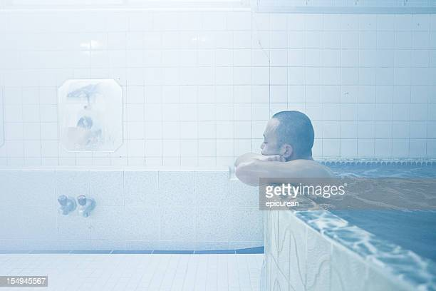 Japanese man in bath