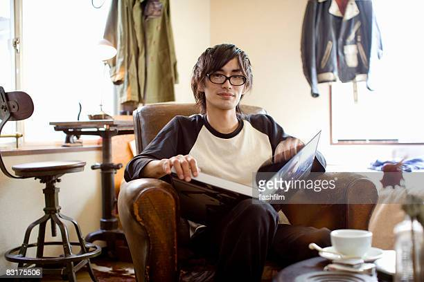 Japanese man in his apartment