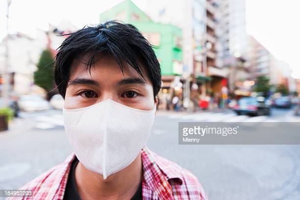 Japanese Man in Tokyo with Facial Protection Mask