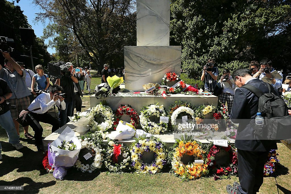 A Japanese man lays a wreath during a Civic Memorial Service held in the Botanical Gardens for victims of the 2011 Christchurch Earthquakes on February 22, 2014 in Christchurch, New Zealand. The earthquake measuring 6.3 in magnistude devastated Christchurch killing 185 people and causing an estimated $40 billion in damage to the city's buildings and infrastructure.