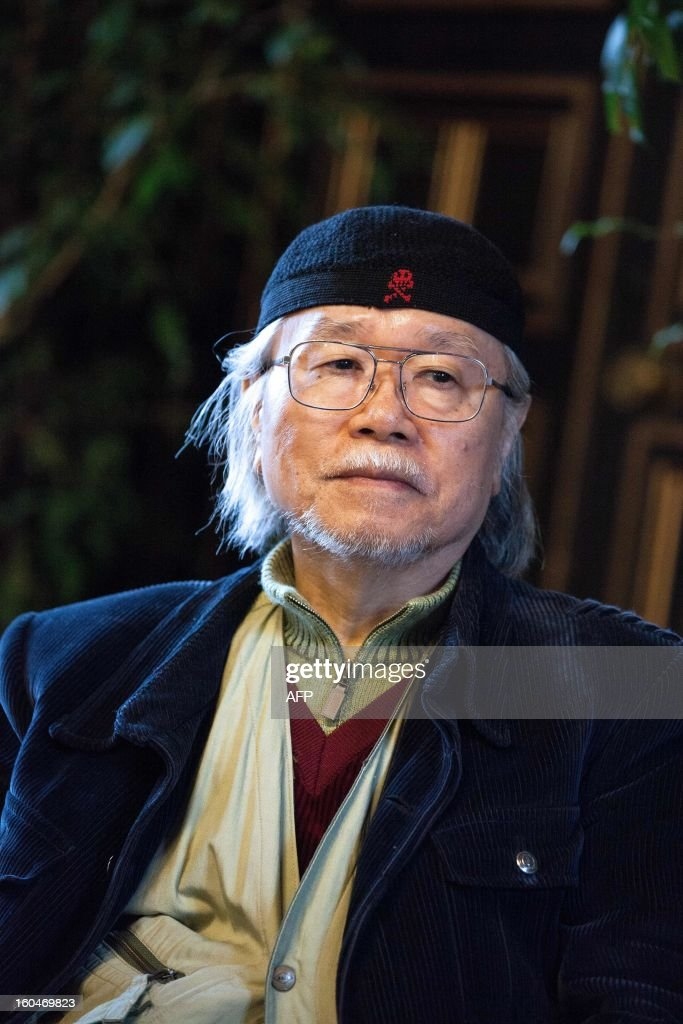 Japanese mangaka Leiji Matsumoto is pictured on February 1, 2013 during the 40th Festival International de la Bande Dessinée (Angoulene's international comic books festival) in Angouleme, western France. Matsumoto, famous for his series Captain Harlock and Galaxy Express 999, celebrate his 60 years of carreer as the festival's guest of honour today. AFP PHOTO / PIERRE DUFFOUR