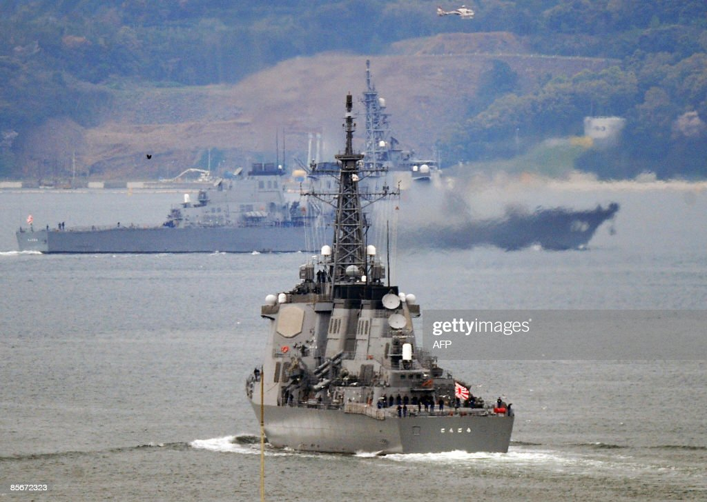 Japanese Maritime SelfDefense Force's Aegis guidedmissile destroyers Kongo and Chokai leave their base in Sasebo Nagasaki Prefecture for the Sea of...