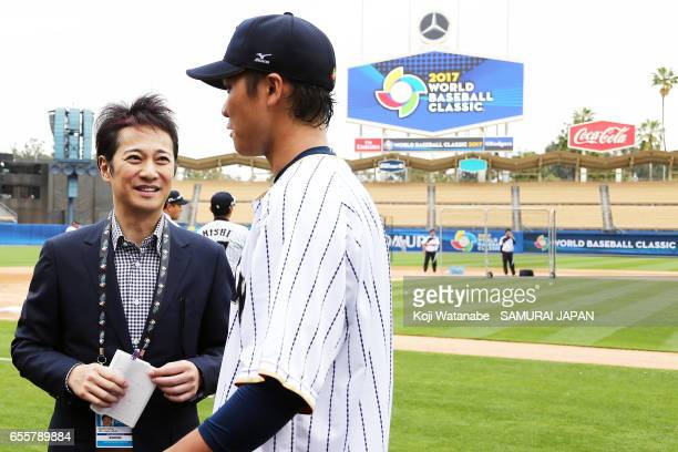 Japanese MC Masahiro Nakai look on during a training session ahead of the World Baseball Classic Championship Round at Dodger Stadium on March 20...