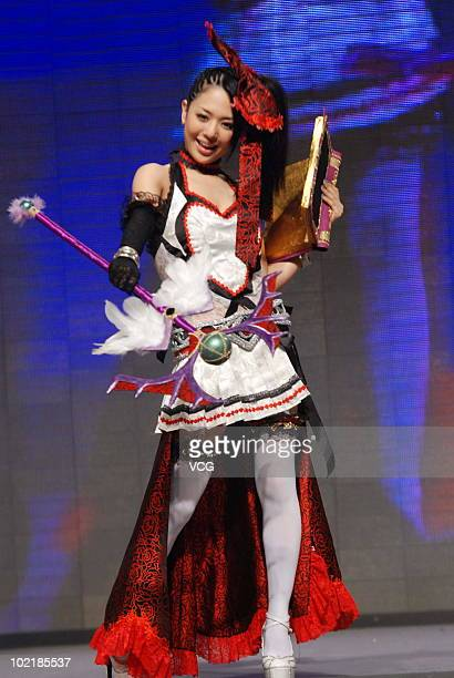 Japanese media personality Sora Aoi poses during an online game promotional campaign on June 17 2010 in Shanghai of China