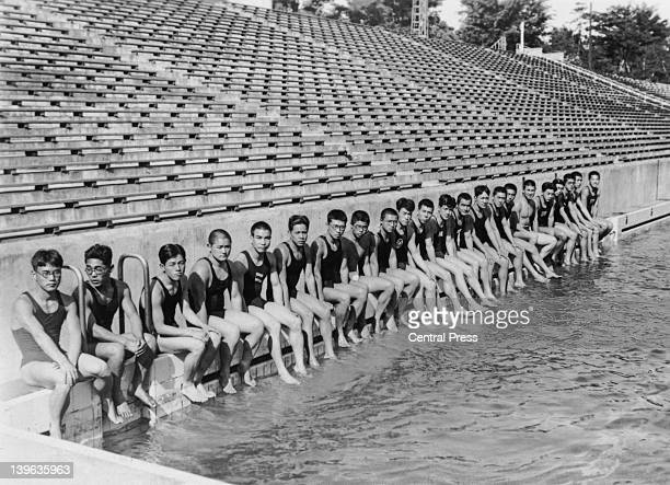 Japanese men's Olympic swimming team in training at the Meiji Shrine pool in Tokyo 3rd June 1936 From left to right Saburo Ito Shozo Makino Soichiro...