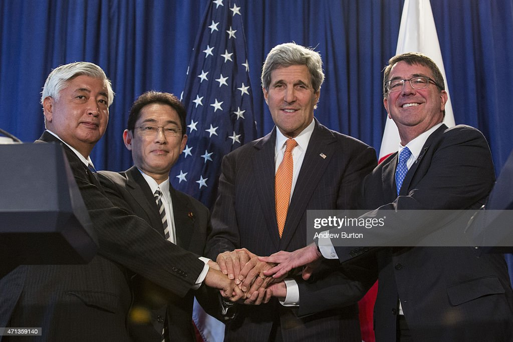 Japanese Minister of Defense Gen Nakatani; Japanese Minister of Foreign Affairs Fumio Kishida; U.S. Secretary of State John Kerry and U.S. Secretary of Defense Ashton Carter attend a press conference announcing a reconfirmation and revision to the 'Guidelines for U.S.-Japan Defense Cooperation,' created by the U.S.-Japan Security Consultative Committee on April 27, 2015 in New York City. The last time the guidelines between the two countries were updated was in 1997.