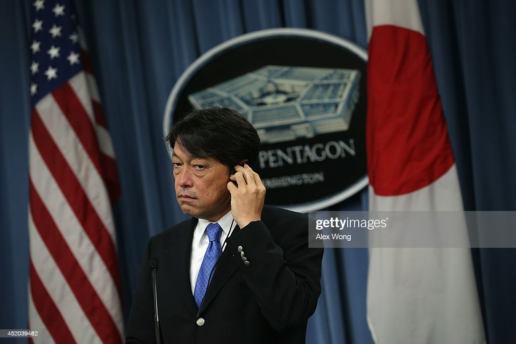 Japanese Minister of Defense <a gi-track='captionPersonalityLinkClicked' href=/galleries/search?phrase=Itsunori+Onodera&family=editorial&specificpeople=2547583 ng-click='$event.stopPropagation()'>Itsunori Onodera</a> listens during a joint news conference with U.S. Secretary of Defense Chuck Hagel at the Pentagon July 11, 2014 in Arlington, Virginia. Onodera is on an eight-day visit in the U.S.