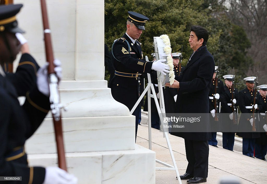 Japanese Minister of Foreign Affairs Fumio Kishida participates in a wreath laying ceremony at Arlington National Cemetery, February 22, 2013 in Arlington, Virginia. Later today Minister Kishida is scheduled to meet with Secretary of State John Kerry for a bilateral meeting.