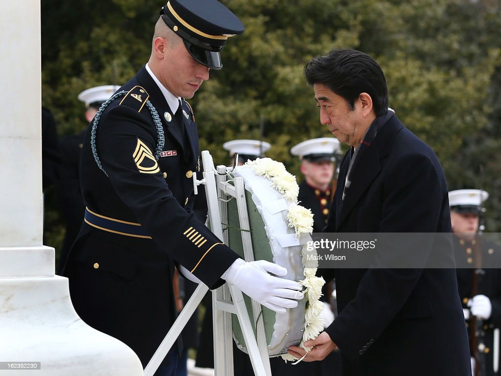 Japanese Minister of Foreign Affairs Fumio Kishida participates in a wreath laying ceremony at the Tomb of the Unkown Soldiers, at Arlington National Cemetery, February 22, 2013 in Arlington, Virginia. Later today Minister Kishida is scheduled to meet with Secretary of State John Kerry for a bilateral meeting.