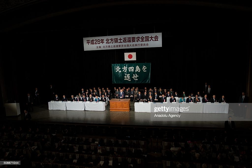 Japanese Minister of Foreign Affairs Kishida Fumio delivers a speech calling for the return of the Russia-controlled Southern Kurils, which Japan claims as the Northern Territories, in Tokyo on February 7, 2015. Soviet troops took the islands in the final days of World War II, turfing out several hundred Japanese who lived there at the time. The issue has prevented the signing of a formal peace treaty between the two countries.