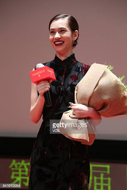 Japanese model and actress Kiko Mizuhara attends fan meeting before premiere of new movie 'The Kodai Family' during the 19th Shanghai International...