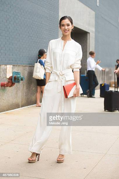 Japanese model and actress Tao Okamoto attends the Calvin Klein show in Calvin Klein on Day 8 of New York Fashion Week Spring/Summer 2015 on...