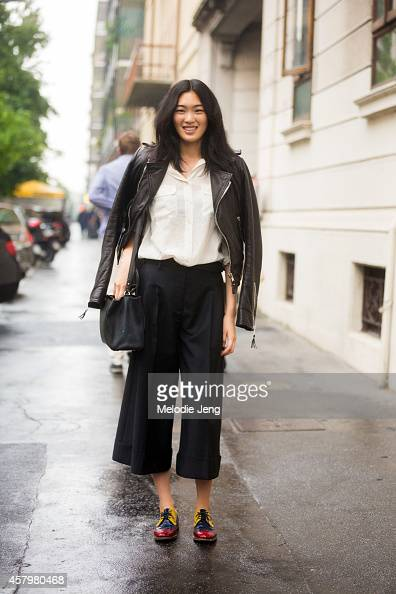Japanese model Chiharu Okunugi exits Etro on Day 3 of Milan Fashion Week Spring/Summer 2015 on September 19 2014 in Milan Italy
