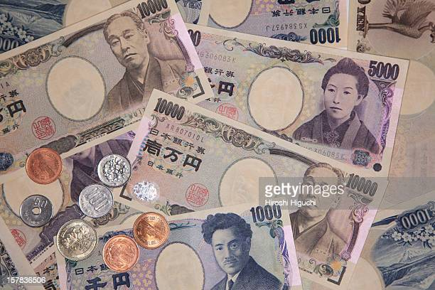 Japanese money 'YEN', coins and bank notes