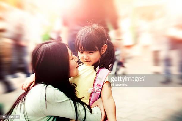 日本の母と子
