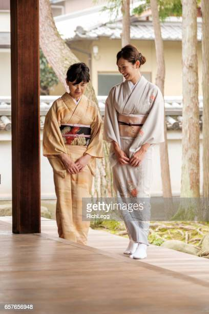 Japanese Mother and Daughter at the Temple