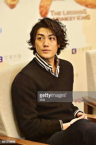 Japanese musician and actor Jin Akanishi attends the press conference of Chinese TV series 'The Legends of Monkey King' on January 9 2017 in Shanghai...