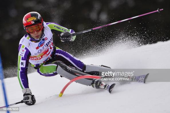 Japanese Naoki Yuasa competes during the Men Slalom race at the Alpine ski World Cup finals on March 17 2013 in Lenzerheide AFP PHOTO / FABRICE...