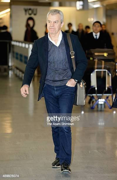 Japanese national team hed coach Javier Aguirre is seen upon arrival at Narita International Airport on December 4 2014 in Narita Chiba Japan...