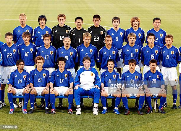 Japanese national team members pose for photo session prior to their training session at a stadium in Iwata city central Japan 21 May 2002 Alessandro...