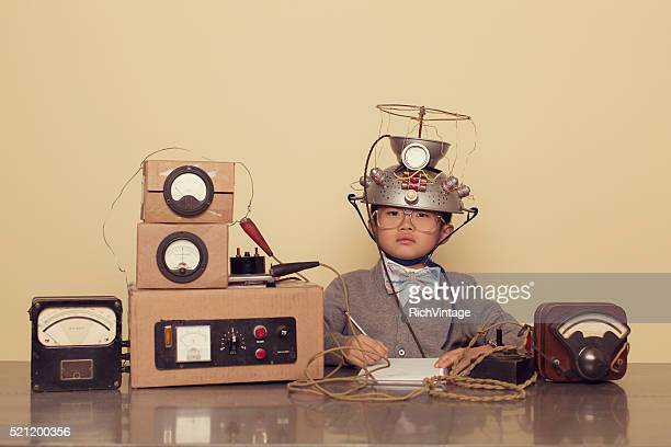 Japanese Nerd Boy Wearing Mind Reading Helmet
