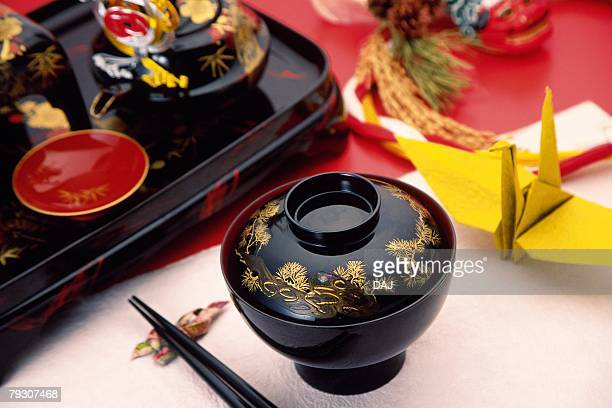 Japanese new year dinner set, Close Up, High Angle View