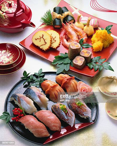 Japanese New Year Dishes and sushi