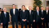 Japanese Nobel laureates pose at the celebration party for the joint winner of this year's Nobel Prize in medicine Shinya Yamanaka writer Kenzaburo...