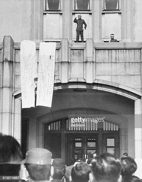 Japanese novelist Mishima Yukio addresses soldiers from the balcony of a barracks building in Tokyo Mishima later committed seppuku or ritual suicide...