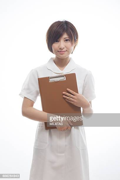 Japanese nurse with a medical record