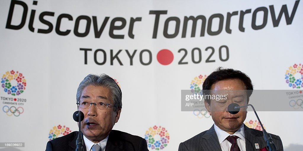 Japanese Olympic Committee president and Tokyo 2020 chief Tsunekazu Takeda (L) speaks as Governor of Tokyo and Tokyo 2020 Chairman Naoki Inose (R) looks on during a press conference in London on January 10, 2013 to launch their candidature file for the 2020 Olympic and Paralympic Games. Tokyo is bidding to host its first Summer Olympics since the 1964 Games. The plan features a 'compact' and 'dynamic' Olympics based on Tokyo's financial wealth and track record in hosting international sports events. It also aims to allay fears of damage from a big earthquake or radiation from the 2011 Fukushima nuclear disaster.