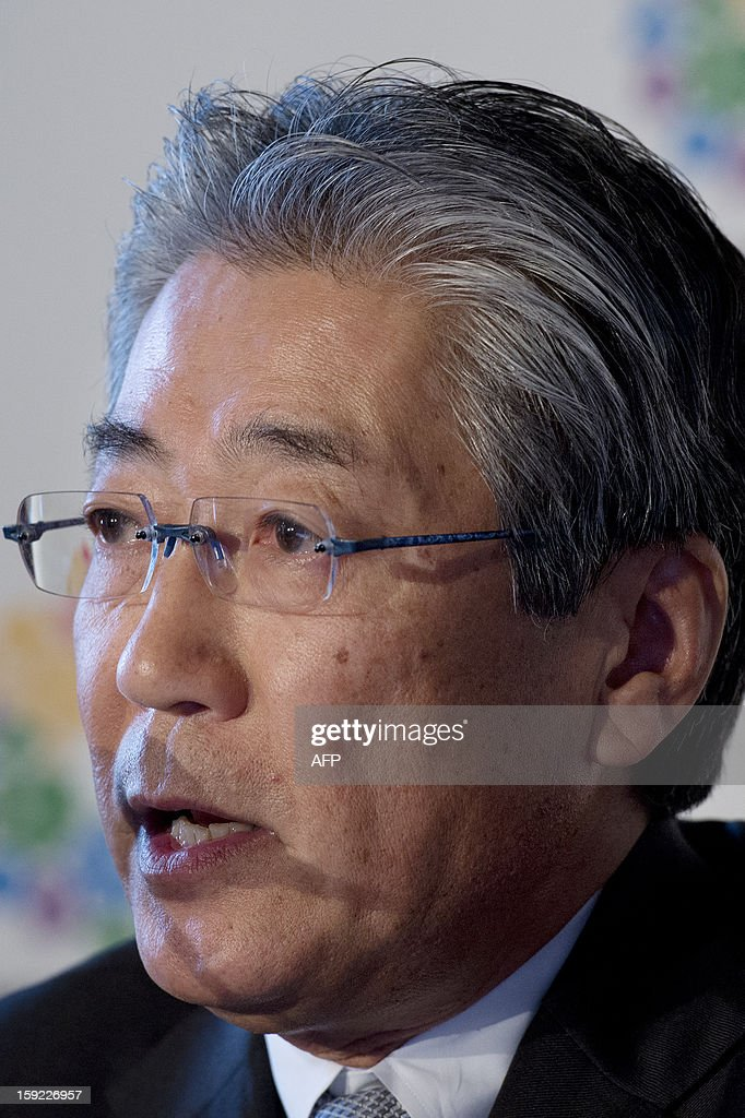 Japanese Olympic Committee president and Tokyo 2020 chief Tsunekazu Takeda speaks during a press conference in London on January 10, 2013 to launch their candidature file for the 2020 Olympic and Paralympic Games. Tokyo is bidding to host its first Summer Olympics since the 1964 Games. The plan features a 'compact' and 'dynamic' Olympics based on Tokyo's financial wealth and track record in hosting international sports events. It also aims to allay fears of damage from a big earthquake or radiation from the 2011 Fukushima nuclear disaster.