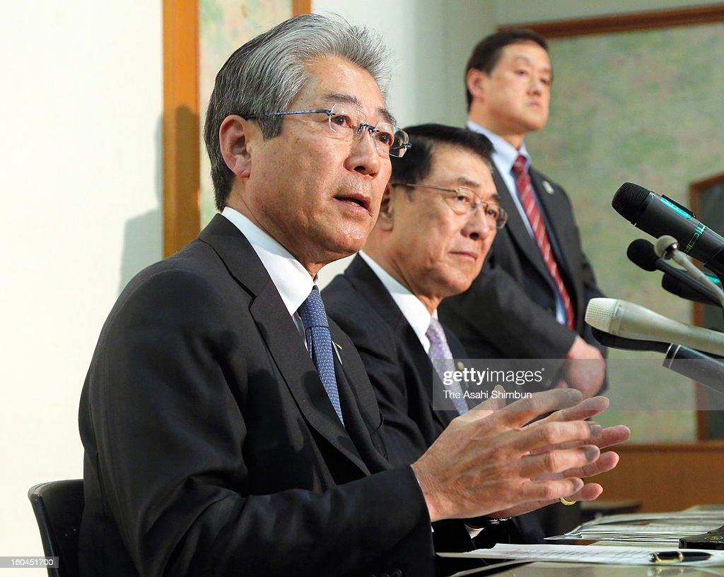 Japanese Olympic Committee president Tsunekazu Takeda (L) speaks during a press conference on January 31, 2013 in Tokyo, Japan. Japan Women's judo head coach Ryuji Sonoda announced he will resign as head coach of the Japanese women's judo team following revelations he used violence and harassed judoka under him.