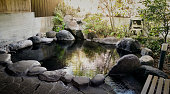 Japanese onsen in traditional style outdoor