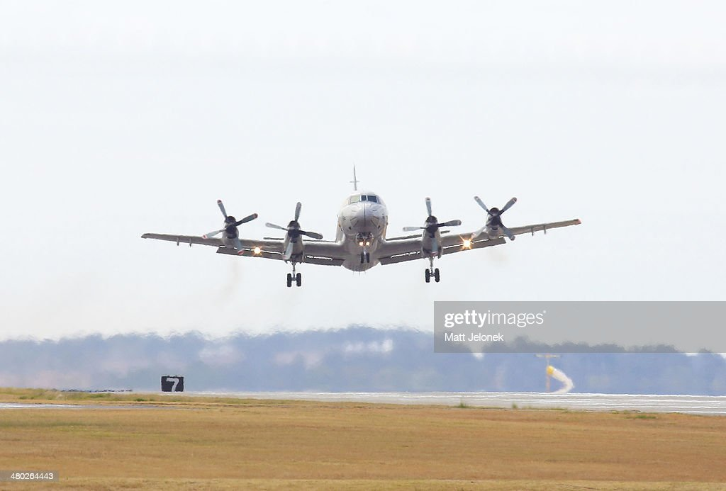 Japanese P3 Orion departs the Pearce Air Base on March 24 2014 in Perth Australia French authorities reported a satellite sighting of objects in the...