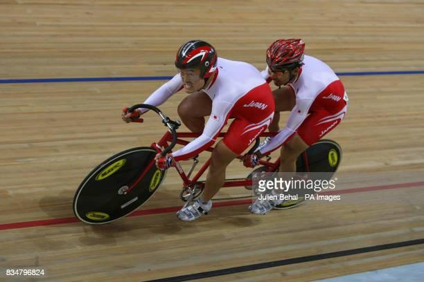 Japanese pairing Tatsuyuki Oshiro and Hitoshi Takahashi on there way to winning bronze in the mens Sprint BVI in the Laoshan Velodrome at the Beijing...