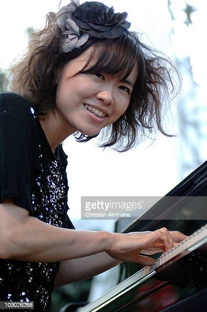 Japanese pianist Hiromi Uehara performs on stage at Nice Jazz Festival on July 21 2010 in Nice France