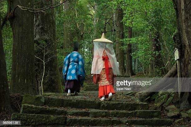 Japanese pilgrims in Kumano Kodo pilgrimage, Japan