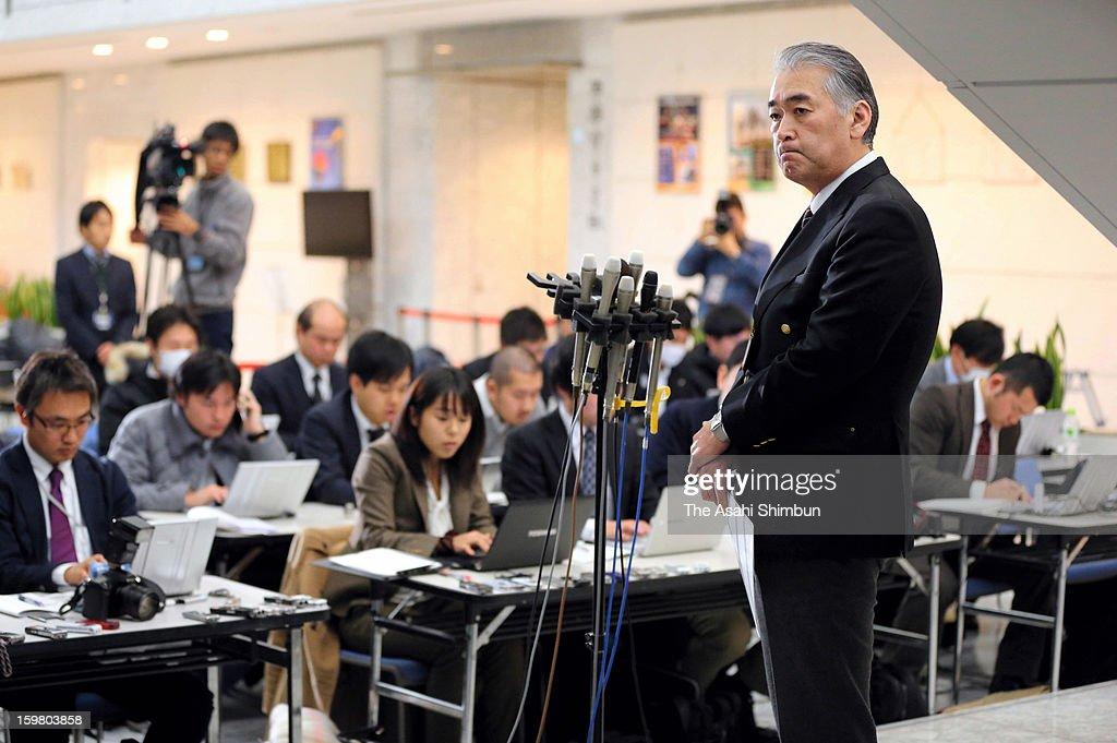 Japanese plant construction company JGC Co spokesman Takeshi Endo speaks during a press conference at their headquarters on January 21, 2013 in Yokohama, Kanagawa, Japan. 10 Japanese emploees of JGC remain unaccounted for.