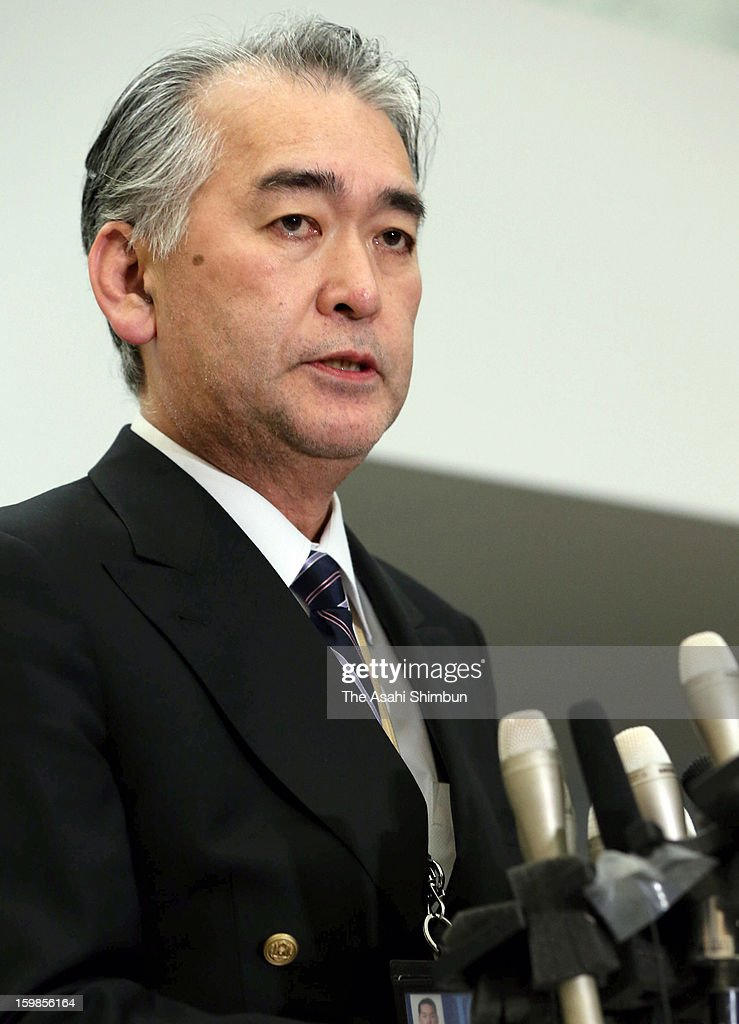 Japanese plant construction company JGC Co spokesman Takeshi Endo speaks during a press conference at their headquarters on January 21, 2013 in Yokohama, Kanagawa, Japan. Japanese government officials, president and staffs of Japanese plant constructor JGC Co, who are in In Anemas confirmed seven Japanese nationals were killed in the Algerian hostage crisis.