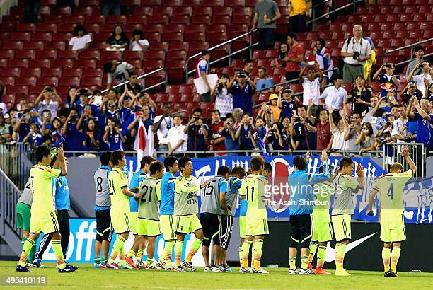 Japanese players celebrate the win after the International Friendly Match between Japan and Costa Rica at Raymond James Stadium on June 2 2014 in...