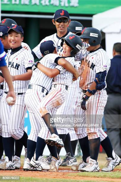 Japanese players celebrate their 65 victoty during the WBSC U12 Baseball World Cup Super Round match between South Korea and Japan on August 5 2017...