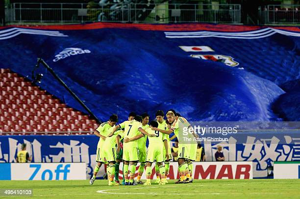 Japanese players form a huddle prior to the International Friendly Match between Japan and Costa Rica at Raymond James Stadium on June 2 2014 in...