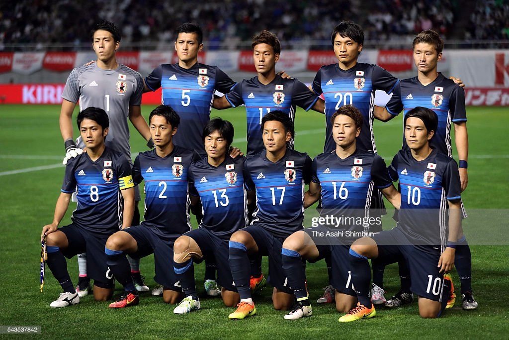 Japanese players line up for the team photos prior to the U-23 international friendly match between Japan and South Africa at the Matsumotodaira Football Stadium on June 29, 2016 in Matsumoto, Nagano, Japan.