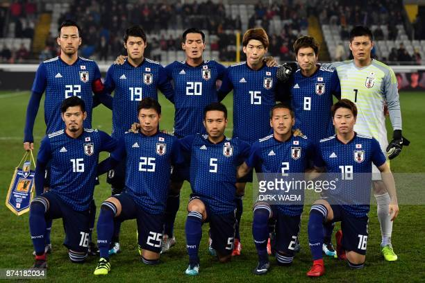 Japanese players pose prior to the friendly football match Belgium vs Japan on November 14 2017 in Brugge Japan's defender captain Maya Yoshida...