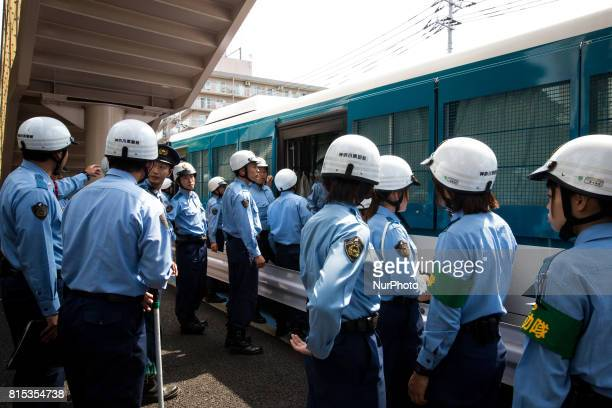 Japanese police are seen during a counterprotest action against quothate speech demonstrationquot in Nakahara Kawasaki City Kanagawa prefecture Japan...