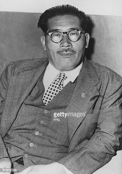 Japanese politician Inejiro Asanuma Chief Secretary of the Japanese Socialist Party 1952 He was assassinated by a right wing extremist during a...