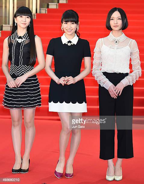 Japanese pop group Perfume attends the opening ceremony of the Tokyo International Film Festival 2015 at Roppongi Hills on October 22 2015 in Tokyo...