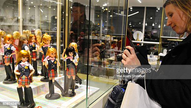 Japanese popular doll 'Liccachan' are displayed during the 'Licca Symbol of Kawaii' exhibition at Japanese Culture House of Paris on December 6 2016...